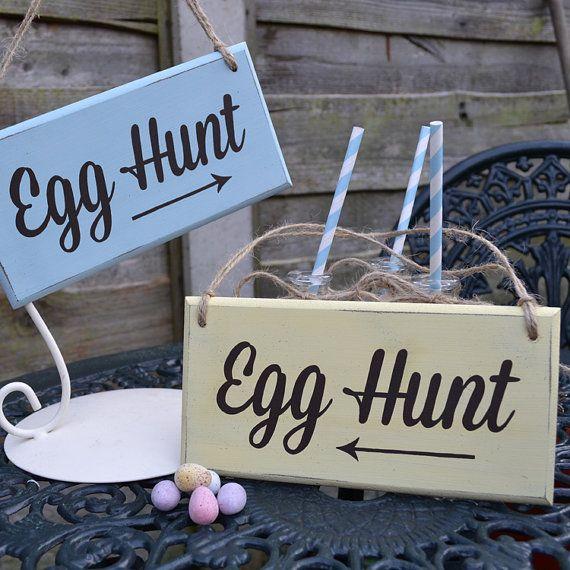 Handpainted Easter Egg Hunt Sign - Vintage Style Wooden 6 Colours