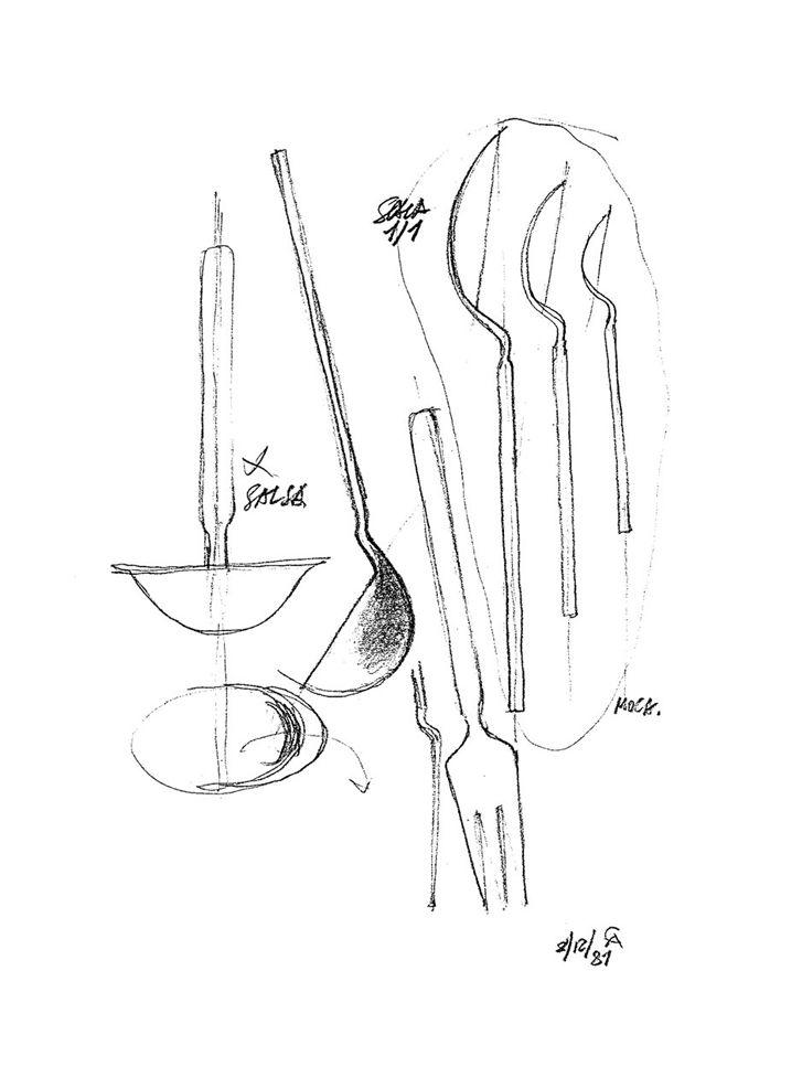 Achille Castiglioni, Sketch for Dry cutlery set, 1982  Archivio Alessi. Source…