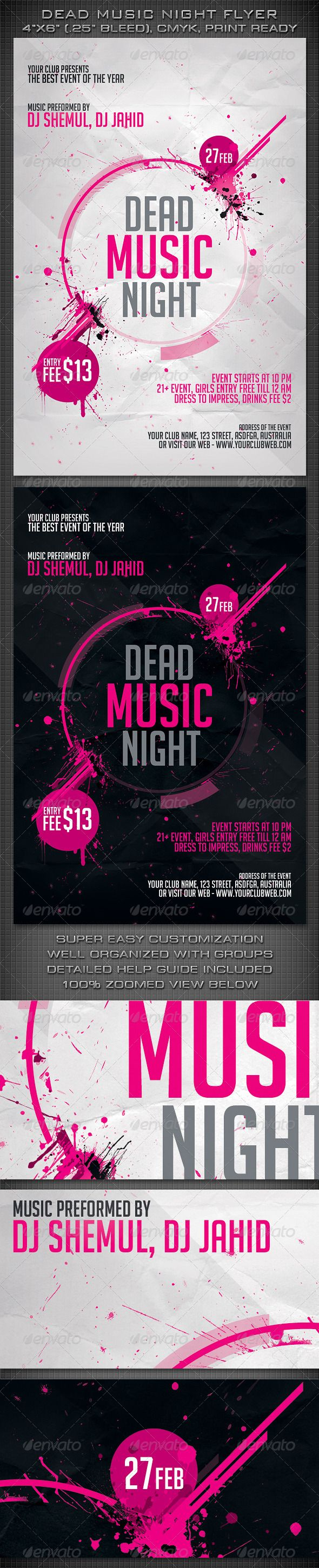 Dead Music Night Flyer - Clubs & Parties Events