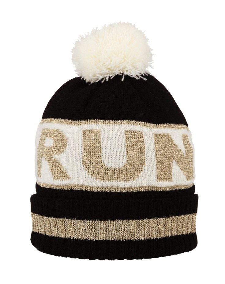 RUN Pom Pom Hat - Black with Cream and Metallic Gold - Scarves and Hats - Accessories