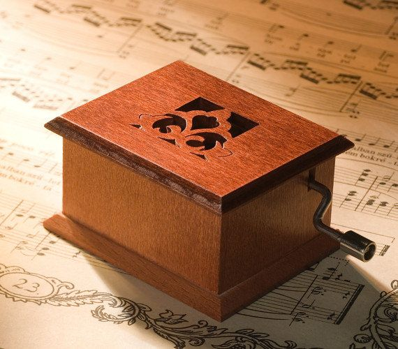 Personalizable teacher gift music box  wooden flower by Woodissimo, $38.00
