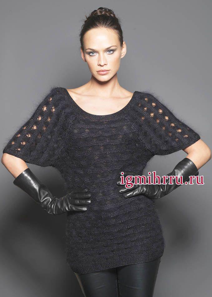 Elegant black tunic with fancy pattern, from the French designers. Knit http://igmihrru.ru/MODELI/sp/platie/228/228.html