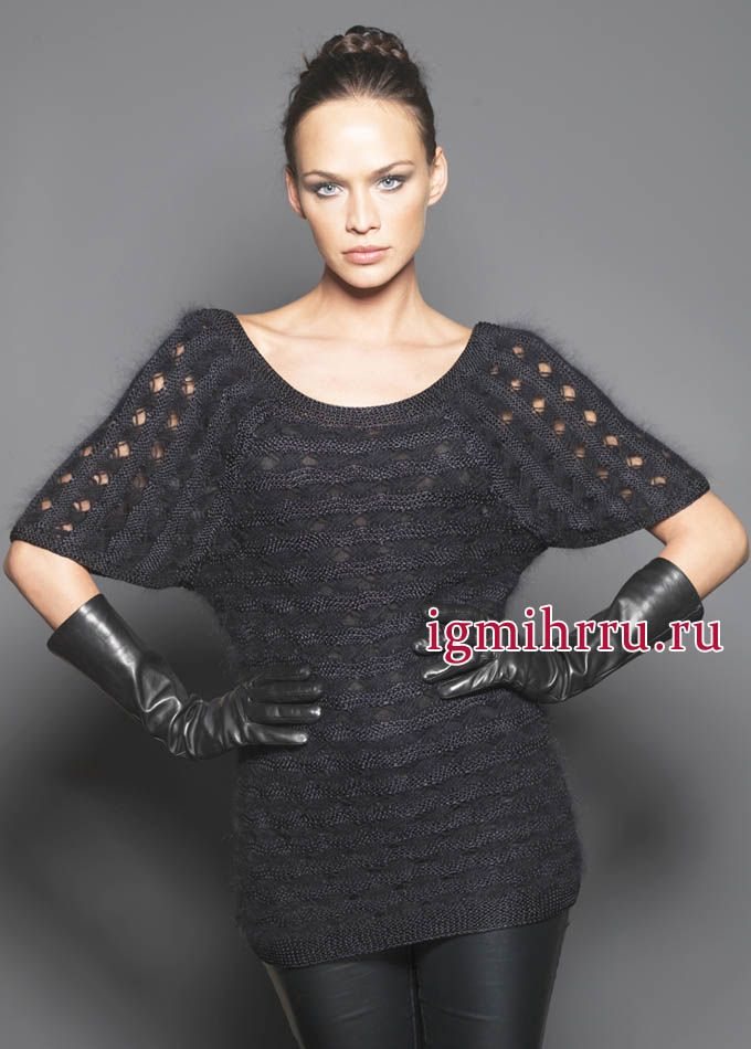 Elegant black tunic with fancy pattern, from the French designers. Knit http://igmihrru.ru/MODELI/sp/platie/228/228.html