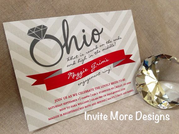 Ohio State Buckeye Invitation- Bridal Shower - Retro - Engagement Party Invitation