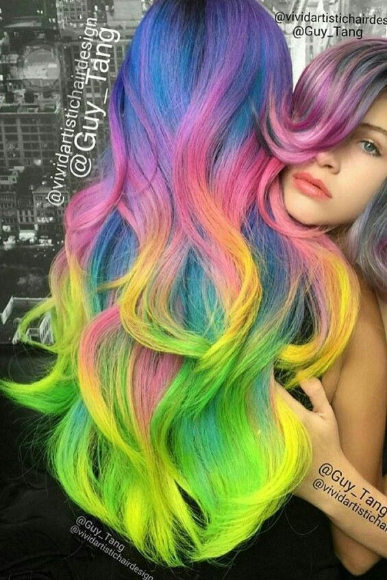 Guy Tang rainbow green dyed hair color