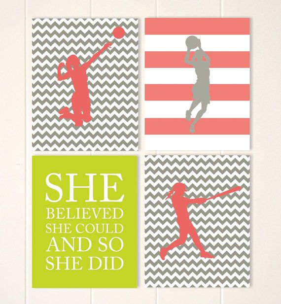 Sports art for girls, girl inspirational quote, volleyball girl, basketball girl, softball, girls room decor, choose your sports and colors by PicabooArtStudio, $34.00