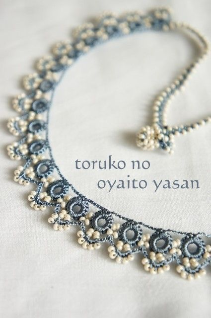 Oya beading, crochet lace necklace
