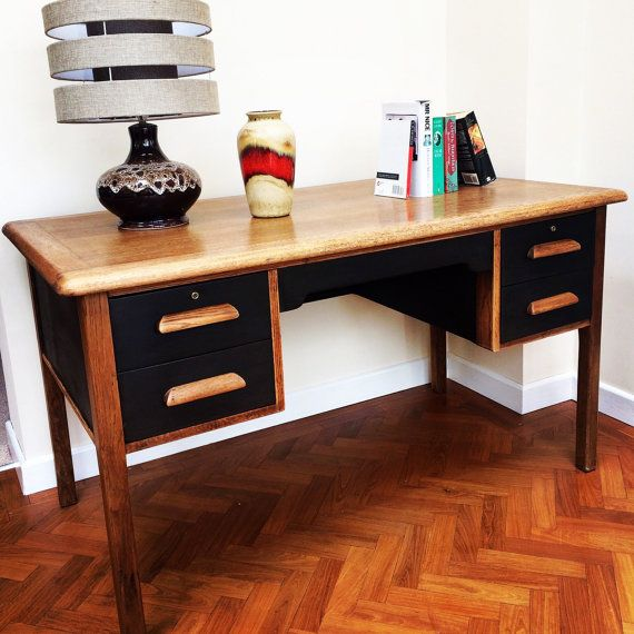A fabulously striking Air Ministry style Oak Desk that has been stylishly re-invented. Stripped, waxed and hand painted in Annie Sloan