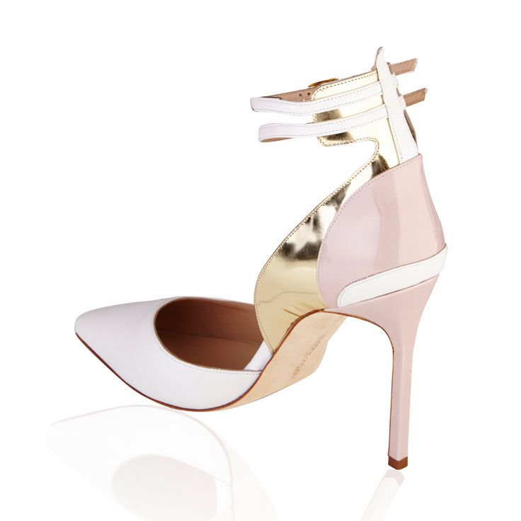 Manolo Blahnik Double Strap Patent & Leather Pump White/Gold/Pink - Comfort and style make these shoes a must for your collection. A comfortable timeless pointed toe in luxurious Italian Patent leather & leather. This pump by Manolo Blahnik has elegance, versatility, sophistication and a classic look.