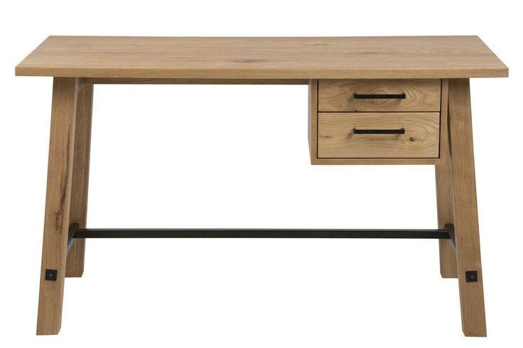 Aloha Skrivebord - Brun - Flot skrivebord med et rustikt udseende. Skrivebordet er fremstillet i lækkert lyst træ og har to praktiske skuffer, hvor der er plads til notesbøger og skriveredskaber. Et perfekt skrivebord til det rustikke hjem.