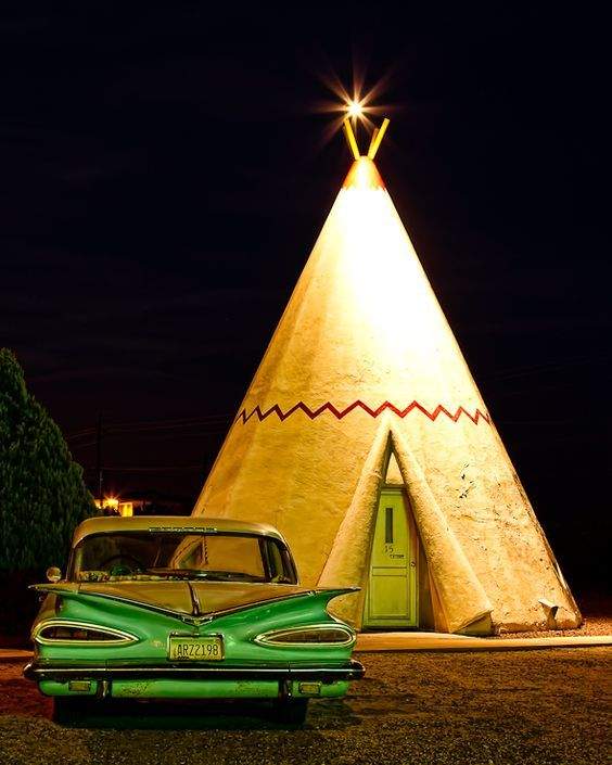 Sleep in a Wigwam, the Wigwam Motel is an classic Route 66 Motel in San Bernardino California.