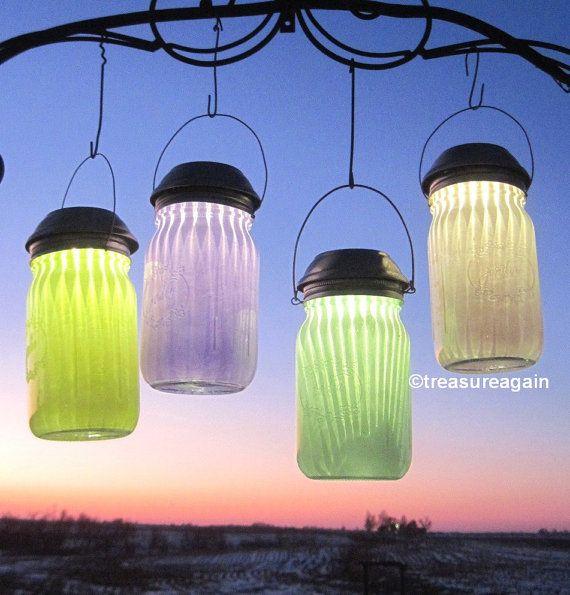 Frosted Jar Mason Jar Solar Lights Outdoor Lighting by treasureagain  http://etsy.me/1L0z1sS