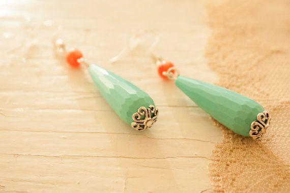 Mint Teardrop Earrings with Little Coral by BeautyfromashesUSA