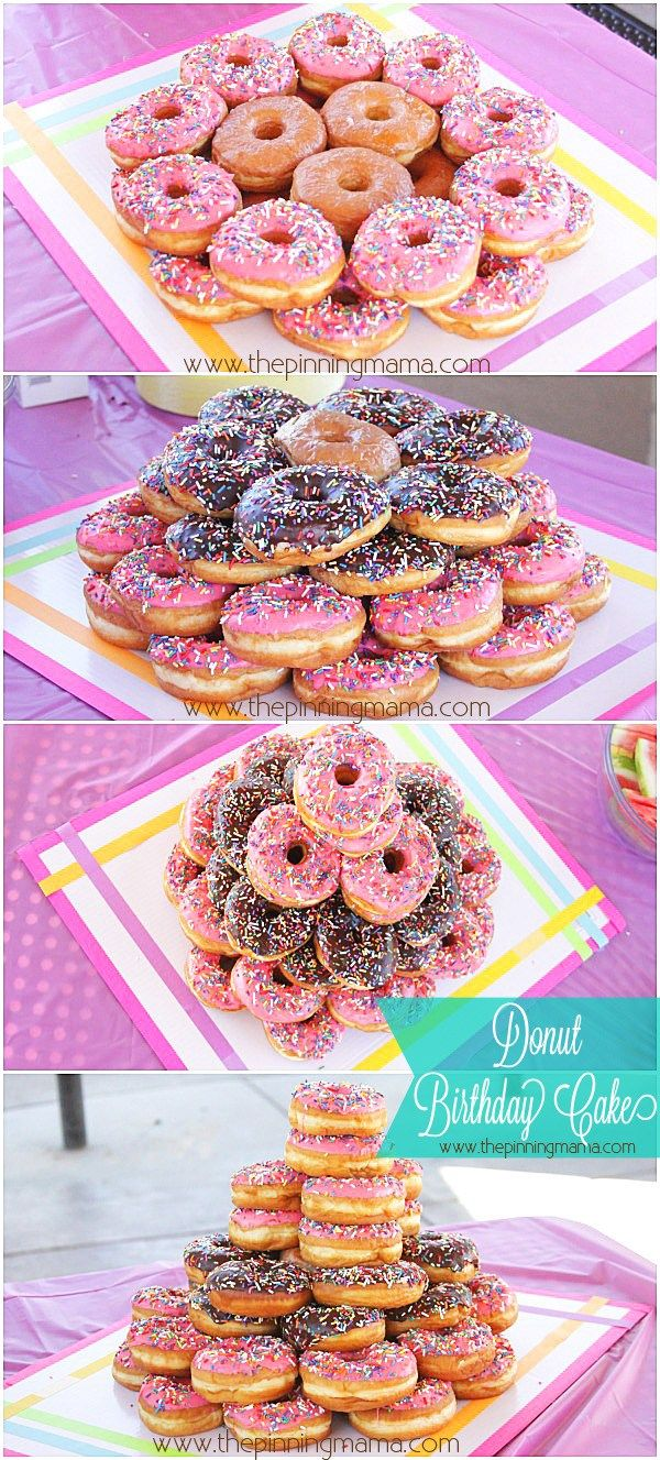 DIY Donut Cake for a Donut Themed Birthday Party! So Easy!