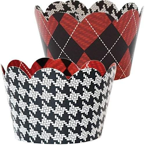 Plaid Party Decorations 36 Reversible Cupcake Wrers Red And Black Argyle Reverses To White Houndstooth Checkered Cup Cake Holders