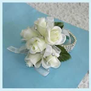 Rhinestone Wristlet Corsage | Off White Roses Corsage Rhinestones Bracelet Wristlet Free Shipping