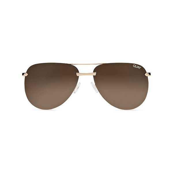 Quay Australia Quay The Playa Sunglasses ($43) ❤ liked on Polyvore featuring accessories, eyewear, sunglasses, brown, quay eyewear, quay sunglasses, brown sunglasses and brown glasses