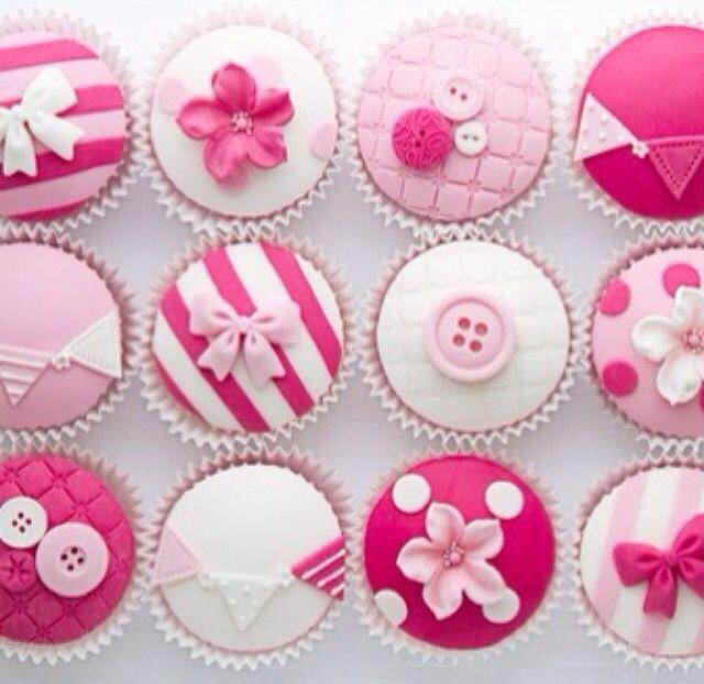 Cupcake Decorating Ideas Using Fondant : Super girly cupcake decorating idea Azul. Cocinamos ...