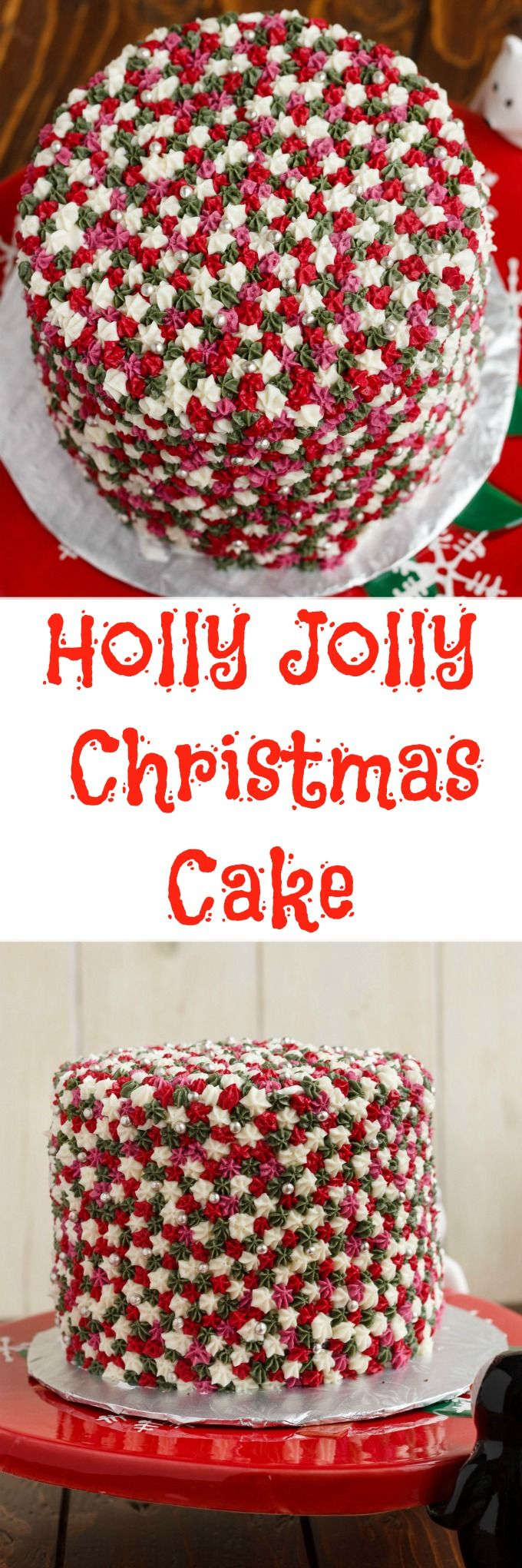 Easy Star Tip Christmas Cake Decorating Idea – Holly Jolly Christmas