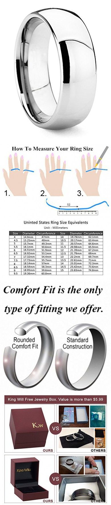 King Will Men's 8mm High Polished Comfort Fit Domed Tungsten Carbide Ring Wedding Band(9)