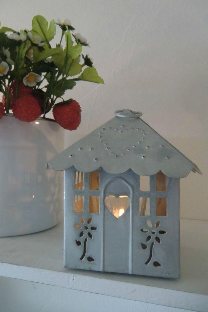 Madleys Laterne Windlicht Hängelaterne Zink HAUS Laternenhaus Shabby Vintage