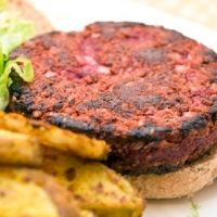 Beet Burger! I made for dinner tonight and they were really good! Served w/corn on cob, oven baked sweet potato fries and salad. Topped mine with homemade guacomole!