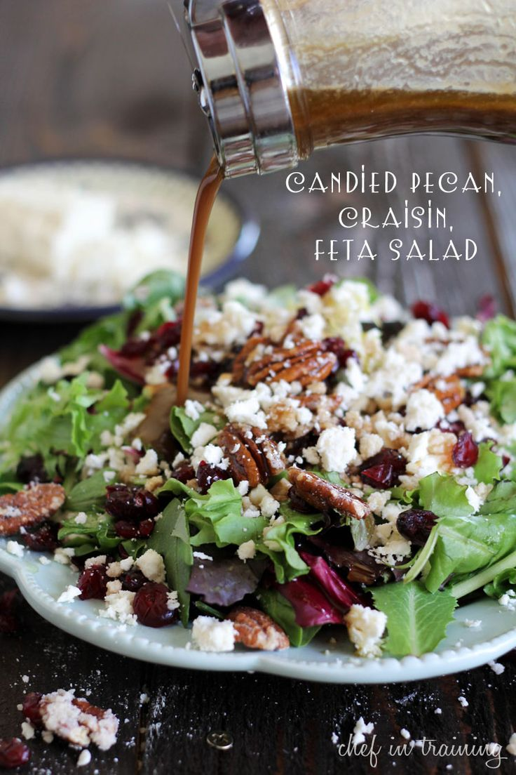 Candied Pecan, Craisin, Feta Salad with Creamy Balsamic Vinaigrette... This is the most amazing and delicious salad! #salad #recipe - my favorite <3Dressing Recipes, Blue Cheese, Candies Pecans, Balsamic Dresses, Salad Recipes, Feta Salad, Salad Dressings, Creamy Balsamic Vinaigrette, Goat Cheese