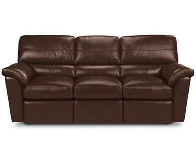 Reese La Z Time 174 Full Reclining Sofa By La Z Boy Renew Recycled Leather In Cocoa Reclining Sofa Leather Reclining Sofa Sofa
