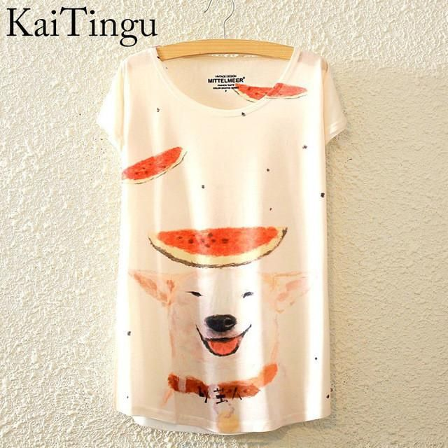 Watermelon Dog Graphic Print Short Sleeve T-Shirt