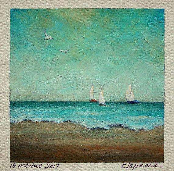Seascape painting sailboat painting blue ocean seaside