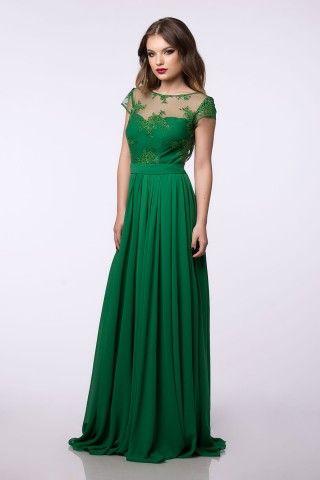 Rochie de ocazie verde lunga din voal