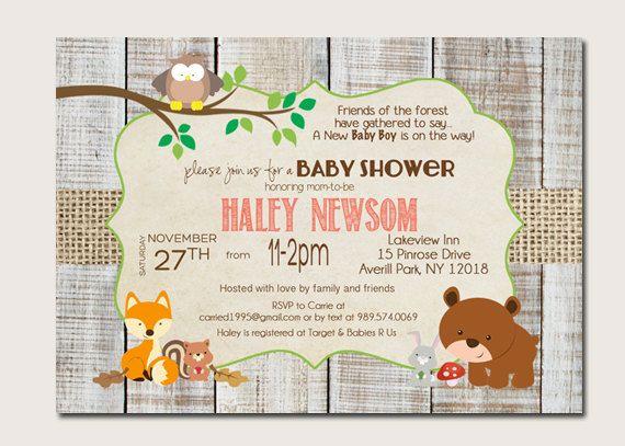 Wald-Tier Baby Shower Einladungen, Woodland-Baby-Duscheeinladung _59