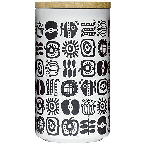 Sagaform 5015945 Round Stoneware Keep Storage Jar with Oak Lid, Large