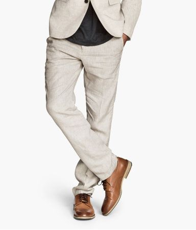 Linen suit pants for a casual day in the spring! H&M. #HMCLASSICS