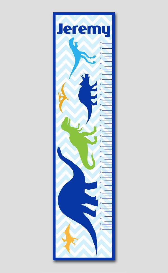 Personalized Dinosaur Chevron Growth Chart- Premium Poster Paper, Growth Charts for Boys, Nursery and Children Decor on Etsy, $42.95