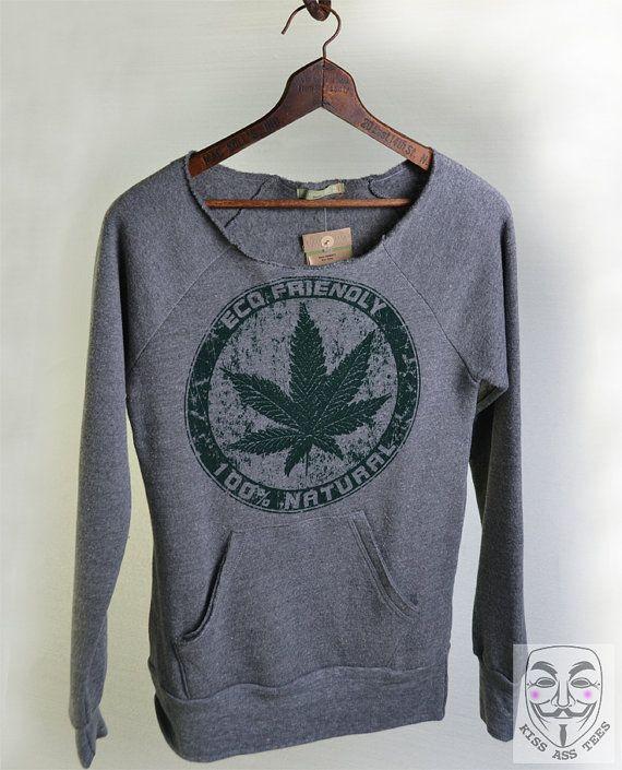 POT SWEATER - Off The Shoulder Slouchy Maniac Sweatshirt Alternative Apparel Heather Grey. Marijuana Legal in Colorado & Washington