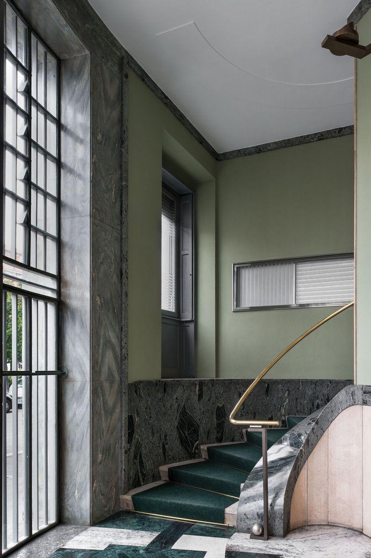 via Domenico Scarlatti 12 Floor: Vallestrona marble and Verde Aver Rail: Verde Alpi ophicalcite