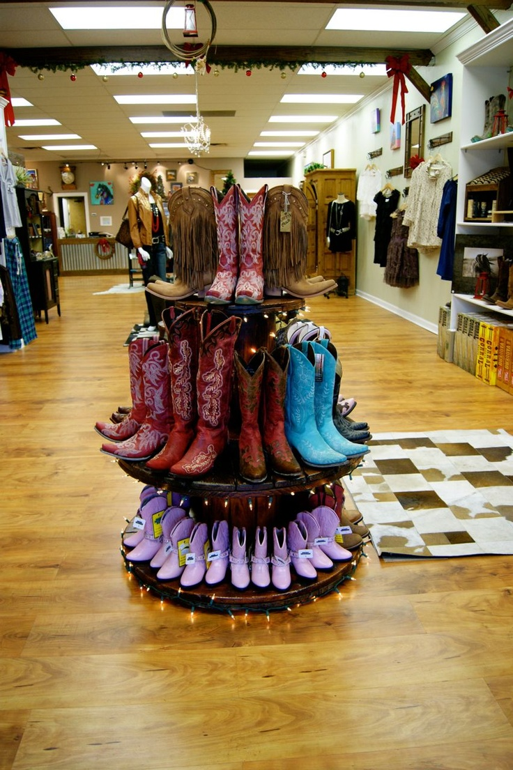 2012 OCC store Boot Display.  We used old spools and some Christmas Lights