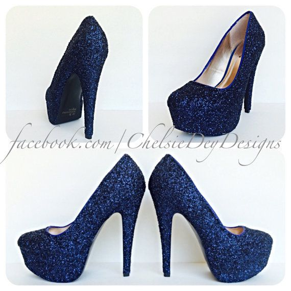 Dark Navy Blue Glitter Pump High Heels by ChelsieDeyDesigns