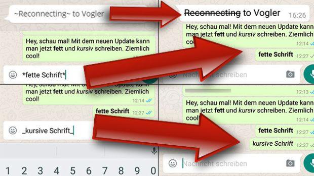 <b>WhatsApp fett, kursiv und durchgestrichen schreiben:</b> So geht's.