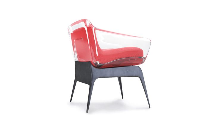 """The concept of """"Blend"""" based on the mixing of different materials in the design of a coherent and modern furniture made of acrylic plastic with cloth and metal, Clear impression is happening because of the cloth colors overlap when the reflection and refr…"""