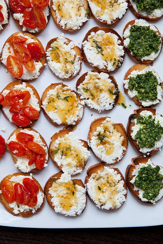Trio of Crostini: Roasted Tomato, Herbed Honey, and Kale Pesto with ...