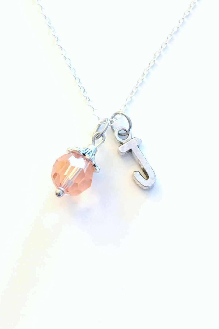 June Necklace, Birthstone Alexandrite Jewelry, Birthday Present Pink Gem Gift Crystal Initial Christmas Bridesmaid Bridal 10mm charm Light by aJoyfulSurprise on Etsy