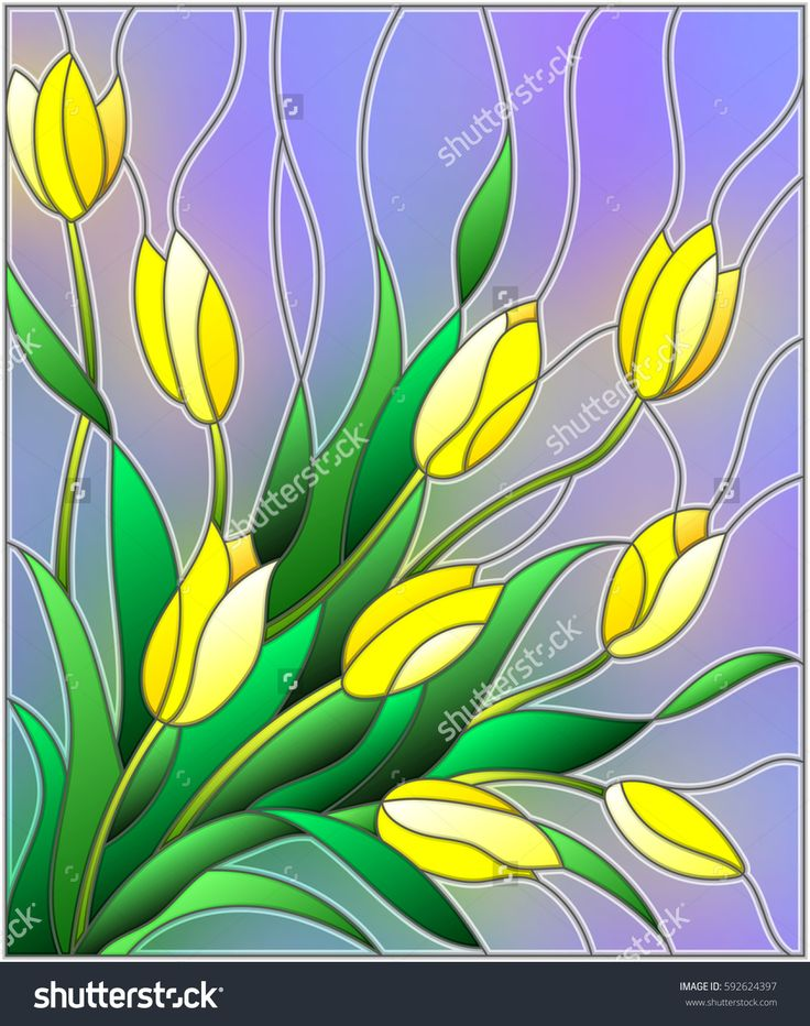 Illustration in stained glass style with a bouquet of yellow tulips on a purple background