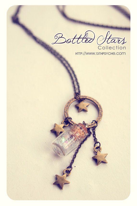 Cute Stars Tiny Bottle Necklace CUSTOM Glitter STARS COLOR by Vhea, €9.99