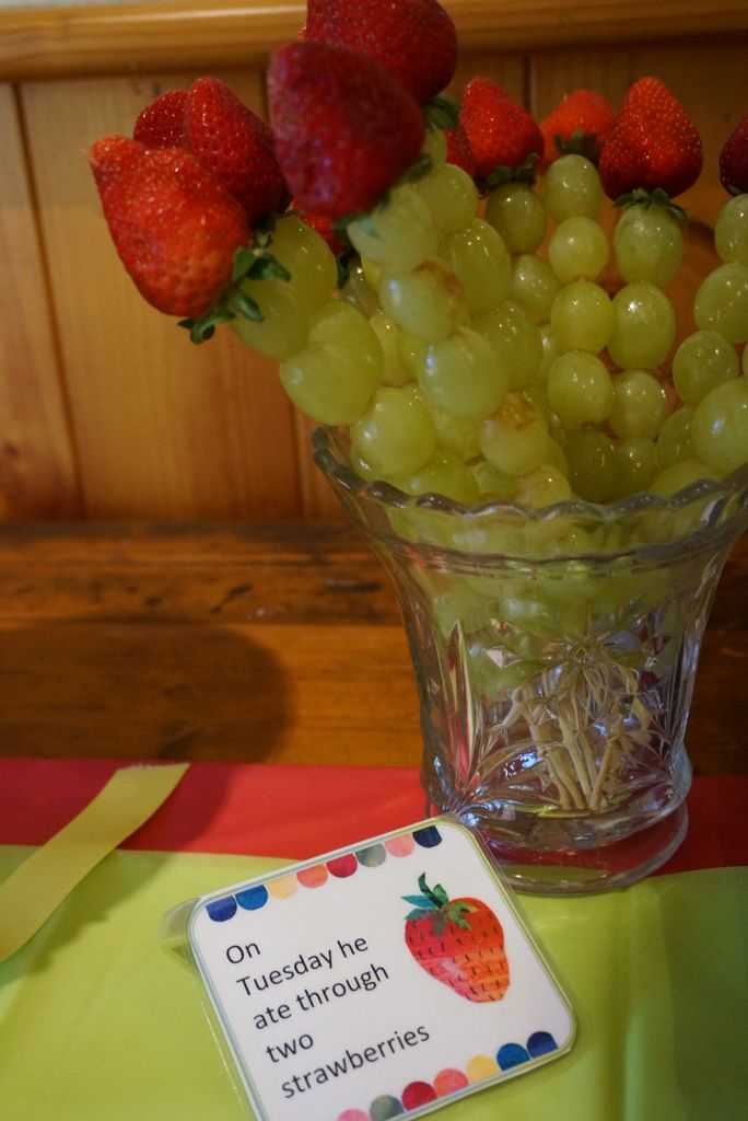 The Hungry Caterpillar Party. Grape& Strawberry Skewers. @shanschlotts