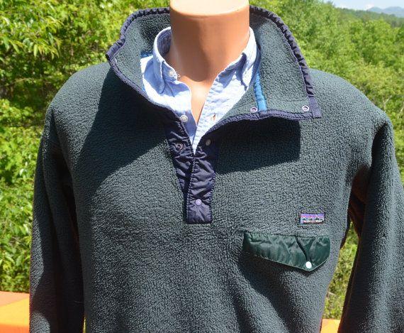 vintage 80s PATAGONIA fleece jacket snap-t synchilla pullover Large Medium green navy by skippyhaha