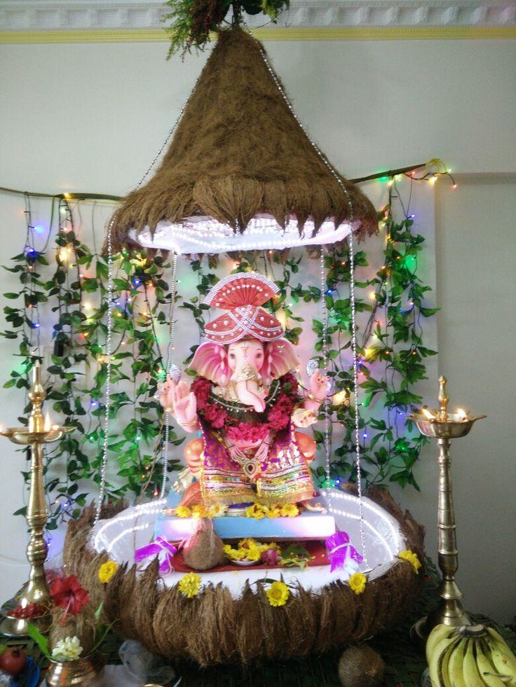 Ganpati decoration coconut theme Festival DecorationsStage DecorationsBlouse