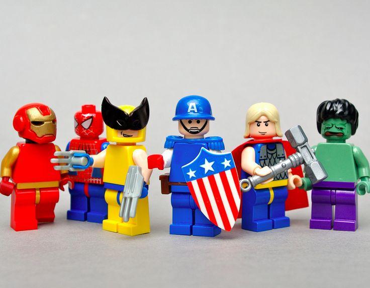 Avengers by Dunechaser | Iron Man , Spider-Man , Wolverine , Captain America , Thor & The Hulk Custom LEGO Minifigs