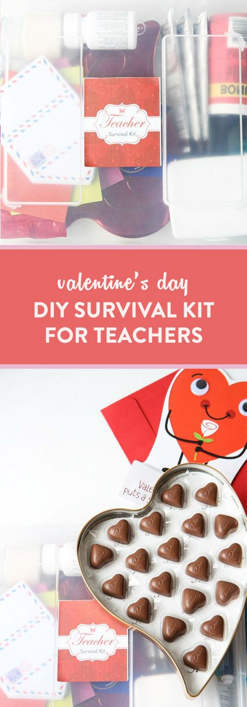 Show a little love to all the amazing teachers in your life with this gift idea for a Valentine's Day DIY Survival Kit. Grab a DOVE® Milk Chocolate Heart Tin and American Greetings card from Walmart to get started creating these thoughtful baskets. Plus, since this simple present is so easy to make, your kids can help assemble the gift to show their appreciation as well!
